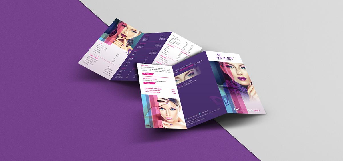 violet tri fold menu